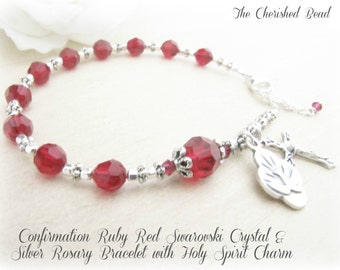 Confirmation Ruby Red Swarovski Crystal & Silver Rosary Bracelet with Holy Spirit Charm