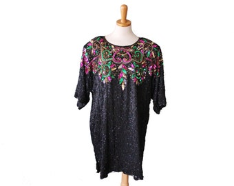 Vintage New Years Sequin and Beaded Tunic Dress - Women 1X - Silk Sack Dress, Plus Size Vintage