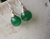Emerald Green Chalcedony Earrings, Faceted, AAA Gemstone, Sterling Silver Ear Wires