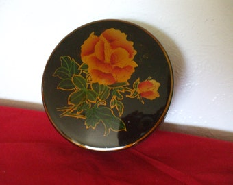 Black Lacquer Box , Roses with Leaves , Gold Accents - Round - Vintage - Jewelry - Trinket Box - Gifts #