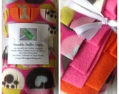 THREE EcoFriendly Re-usable Swiffer Sweeper Dusting Covers, Bright Pink/Orange/Pink Dog Lover