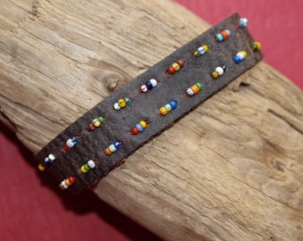 Aftrican Christmas Beads Leather Bracelet