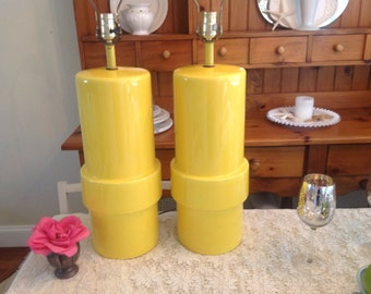 YOU Are MY SUNSHINE Hollywood Regency Yellow Lamps Cylindrical Lamps / Almost 3 Ft Tall / Palm Beach On Sale at Retro Daisy Girl