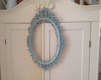 Vintage Shabby Chic Turquoise Blue Mirror Frame / Cottage Praire Style / Syroco Mirror Romantic Homes Mirror On Sale at Retro Daisy Girl