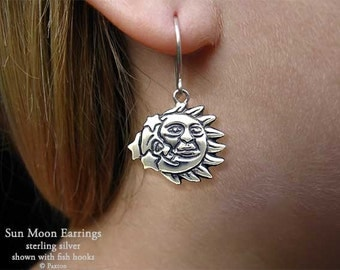 Sun Moon Earrings Sterling Silver Hand Carved & Cast Fish Hook or Post