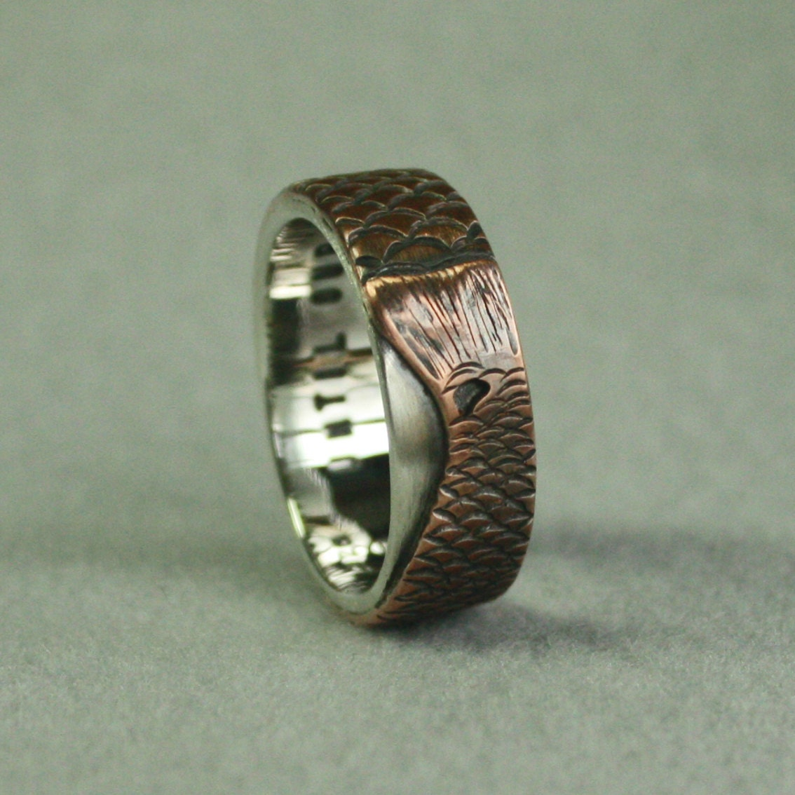 Red Fish Personalized Wedding Band For Fisherman Engraving