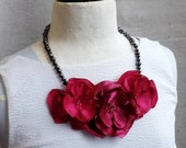 Charcoal Pearl Necklace with Flower Trio in Hot Pink