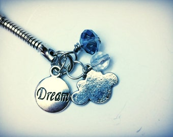 Dream Themed Keychain with Cloud charm and beads, one of a kind