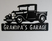 Man Cave, Classic , 1929 Ford Truck, Model A,  Garage Sign, Satin Black, Personalized Metal Sign