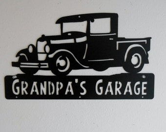 Man Cave, Classic , 1929 Ford Truck, Model A,  Garage Sign, Satin Black, Personalized Metal Sign, Car Art