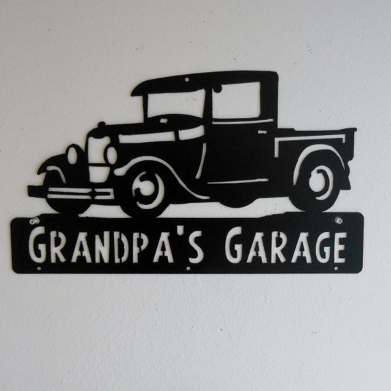 1928 1929 Ford Truck, Man Cave, Classic , Model A, Garage Sign, Satin Black, Personalized Metal Sign, Car Art