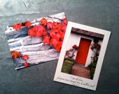 Irish Cottage Postcard Set of 2 - Red Door, Ivy, Ireland, Bible Quote, White, Cards, Hello, Notes, Nature Photos, I AM the Door, John10:9