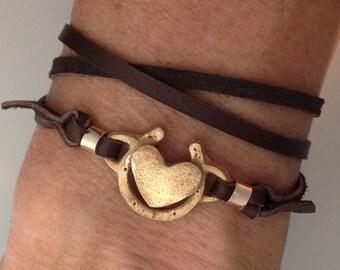 Horseshoe with heart leather wrap bracelet