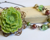 Asymetrical Necklace- Flower Necklace,Fall Jewelry