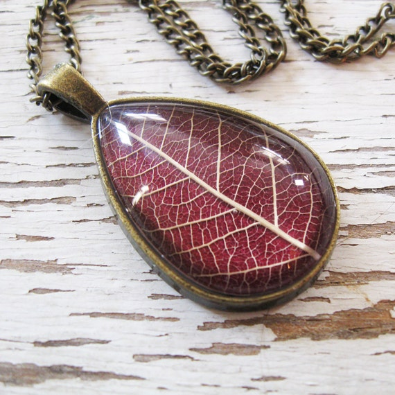 Real Leaf Necklace - Maroon and Antique Brass Botanical Teardrop Necklace