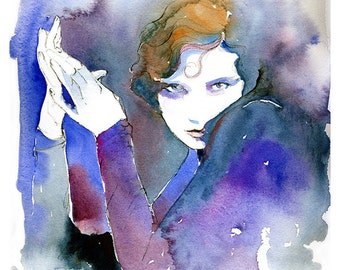 Fashion Illustration, Watercolor Fashion Print, Fashion Print, Cate Parr, Twenties inspired fashion, Fashion sketch, Tilly Losch,