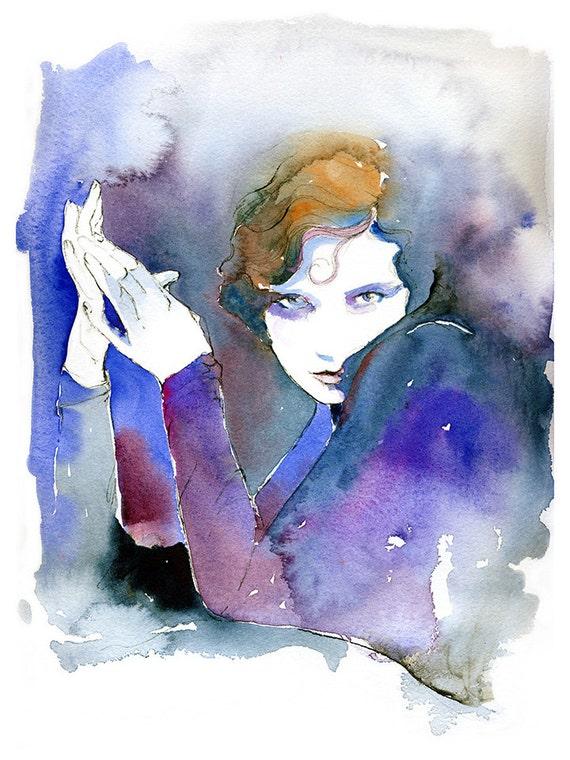 Fashion Illustration, Watercolor Fashion Print, Fashion Print, Cate Parr, Twenties inspired fashion, Fashion sketch, Tilly Losch,