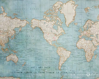 World Travel Map, Traveller Gifts, Wanderlust, Travel Quote, World Map, Engagement Gifts, Map Art Print, Couples Gift, Wedding Print