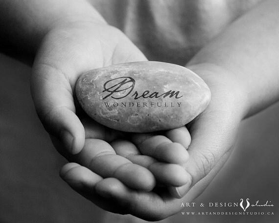 Encouragement Gift, Positive Message, Inspirational Message, Happy Art Print, Stone Art, Dream Wonderfully, Graduation Gift