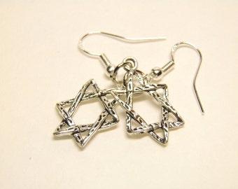 Hanukkah Earrings, Sterling Silver and Pewter with Star of David, Hanukkah Jewelry, Star of David Jewelry, Star Jewelry, Star Earrings #5