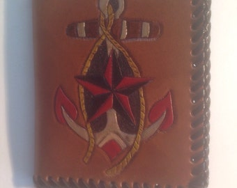 Leather hand tooled ID case