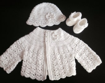 Crochet Baby Sweater Hat, Booties Set White