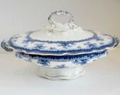John Maddock and Sons Blue Hamilton Covered Serving Dish, Victorian China, English Porcelain.