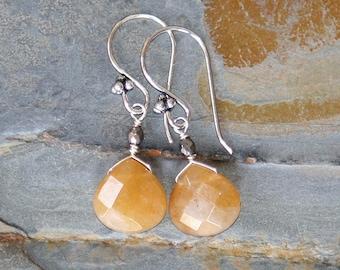 Orange Stone Earrings, Natural Stone Earrings, Aventurine Earrings, Teardrop Earrings, Tangerine Earrings, Handmade Earrings, Spring Earring