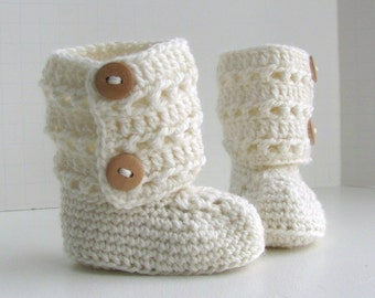 merino wool tall eyelet lace double button cuff baby booties uggs style girls snow white wood buttons gift shoe box size 0 to 6 months