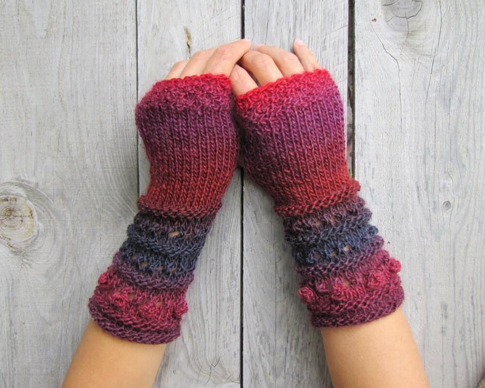Long Arm Warmers Knitting Pattern : Fingerless Gloves Long Arm Warmers Hand Knit Gloves Winter