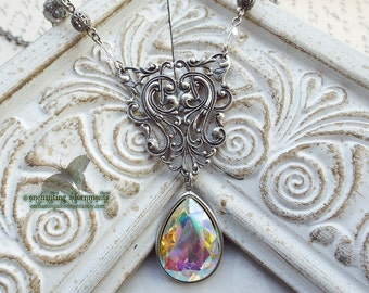 The Faerie Queene ~ Aged Silver Victorian Necklace with dazzling aurora crystal stones, fairy queen