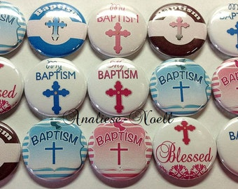 """Baptism 1"""" Buttons Pin Back or Hollow Back (15 Buttons) Sale for this listing only, Baptism Pins, Baptism Party Favors, Baptism Buttons"""