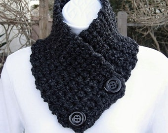 NECK WARMER SCARF Buttoned Cowl Black Dark Gray Grey Charcoal Wool Blend, Solid Black Buttons, Thick Crochet Knit..Ready to Ship in 2 Days
