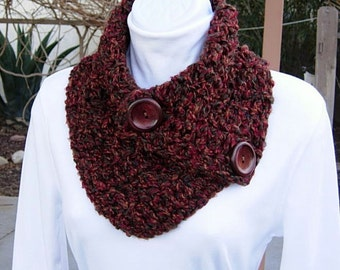 NECK WARMER SCARF Buttoned Cowl Rust Red Green, Large Reddish Brown Wood Buttons, Extra Soft Winter Crochet Knit..Ready to Ship in 3 Days