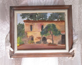 California Mission Oil Painting Mid Century Art Framed Signed Impressionist Oil Painting Adobe Stucco Villa Architecture Painting