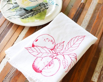 Cloth Napkins - Eco Friendly Dinner Napkins - Screen Printed Napkins - Cloth Napkin Set - Reusable - Botanical - Apple - Cocktail Napkins