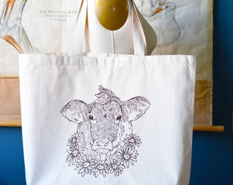 Recycled Cotton Canvas Tote Bag - Screen Printed Grocery Bag - Eco Friendly Shopper Tote - Large Tote - Farmers Market - Farmhouse - Cow