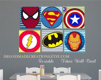 Super Heroes Repositionable Wall Decal Fabric Personalized Initial Name  Wall Decal perfect decoration for nursery or playroom