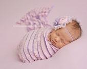 Cheshire Pink Purple Striped Ruffle Stretch Fabric Wrap Newborn Photography Prop