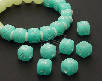 LR-057-BL / 10 Pcs - Numeric Luminous Beads, Phone Number Bead, Anniversary Date, Number Four, 4, BLUE Square / 7mm