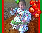 Baby Girl's custom Christmas set...Visions of Sugar Plums two piece set with double ruffle pants with bow accent.