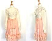 Vintage Gunne Sax - 70s skirt - lace blouse - two piece - romantic dress - alternative wedding - folk skirt - Small