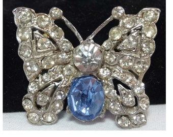 Butterfly Sapphire and Clear Rhinestone Brooch Silver Plated Apparel & Accessories Jewelry Vintage Jewelry Brooch Rhinestone
