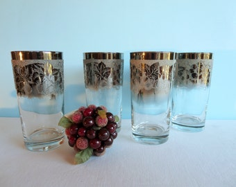 Vintage Silver Rimmed Embossed Tumblers - Grape Pattern - Silver Ombre Glasses