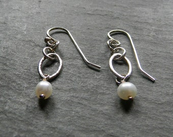 Sterling Silver Ovals with white pearl