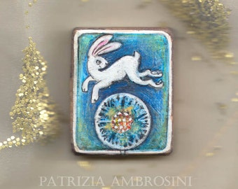 SALE ..white rabbit.original handpainted  necklace or  brooch  of your choice  painting Vintage Style Frame