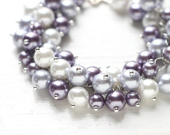 Light Purple and White Wedding Bridesmaid Jewelry Pearl Cluster Bracelet - Lavender Snow