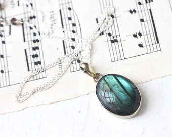 Oval Labradorite Necklace, Large Smooth Stone Set in Sterling Silver, Great Teal Blue Flash Stripes
