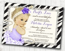 Girl Baby Shower Invitation for girl Pearls and Lace Zebra Purple Baby Shower Invitation For Girl - FREE SHIPPING or DIY Printable