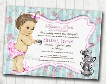 Shabby Chic Floral Vintage Birthday or Baby Shower Invitation For Girl - Soft Pink and blue - DIY Printable